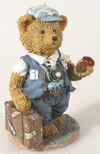 TEDDY BEAR FIGURINE WEARING CLOTHES WITH VIEW CAMERA AND LUGGAGE